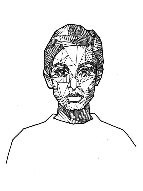 Drawn portrait ink On Portraits Behance  Geometric