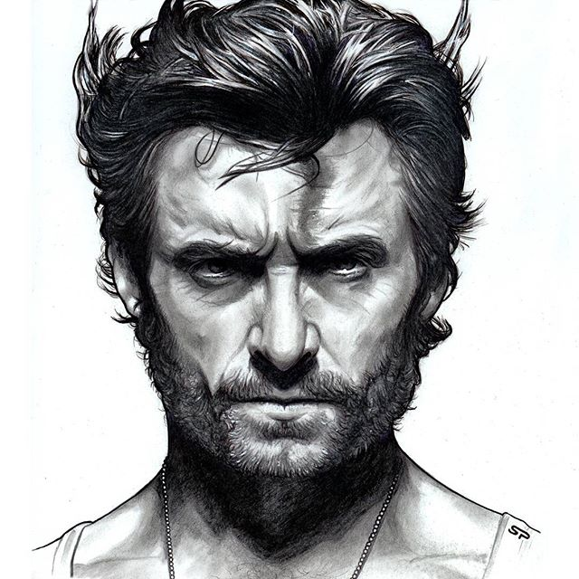 Drawn portrait ink Sketch as / Hand sketch