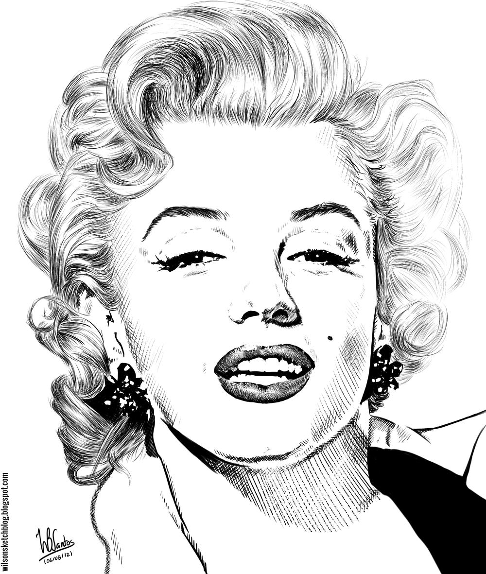 Drawn portrait ink Pinterest of Monroe Monroe Marilyn