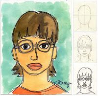 Drawn portrait kid Intermediate Step Tutorial step face