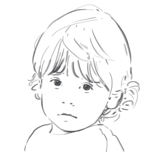 Drawn portrait line drawing Portrait drawing Hand Children love