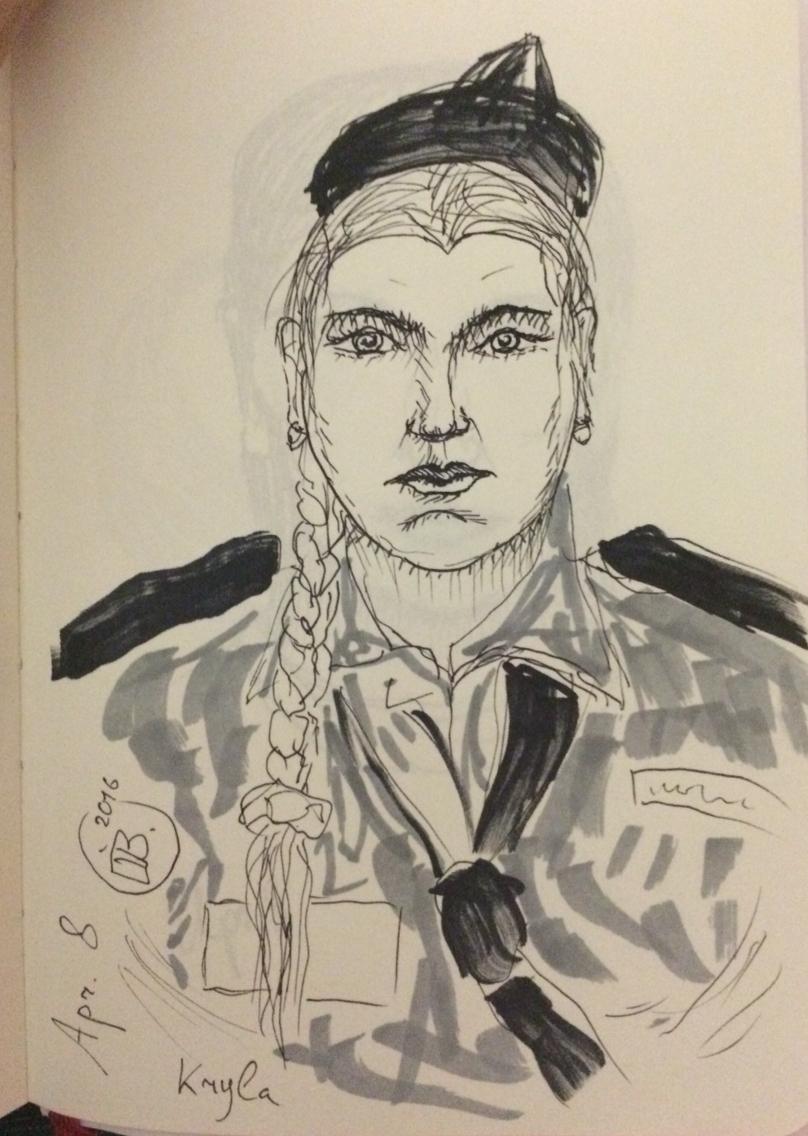 Drawn portrait liner Letraset Kryla's portrait and girl