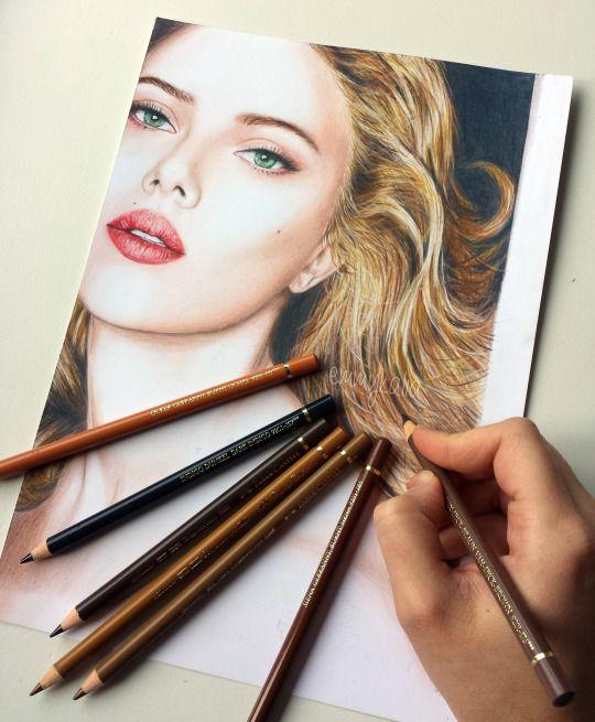 Drawn portrait liner Colored 21 Johansson Kalia Videos