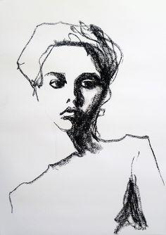 Drawn portrait liner The contour the using emphasises