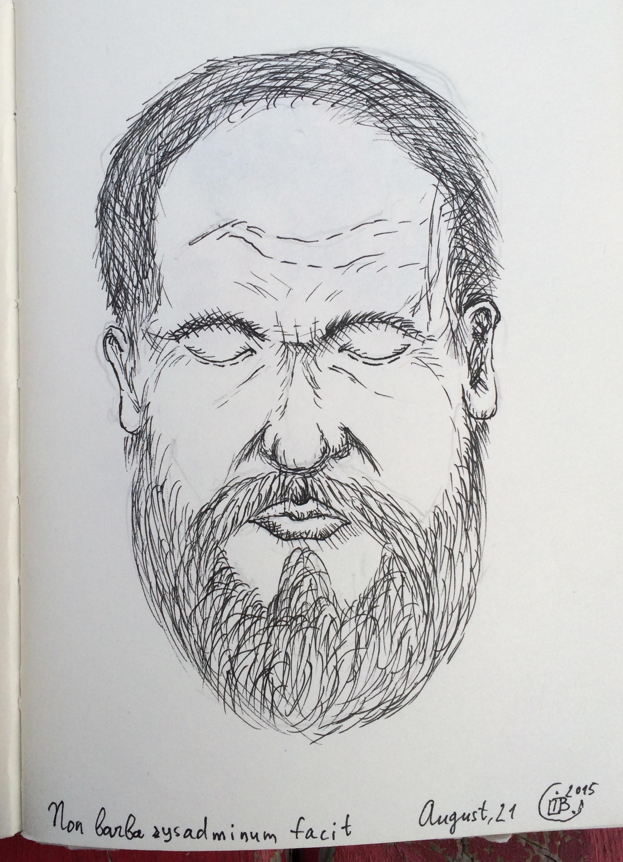 Drawn portrait liner Random Random beard Mitsubishi with