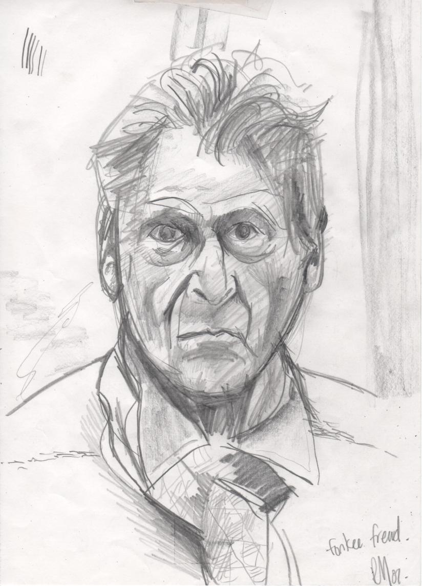 Drawn portrait lucian freud DeviantArt ryza27 Freud Lucian ryza27