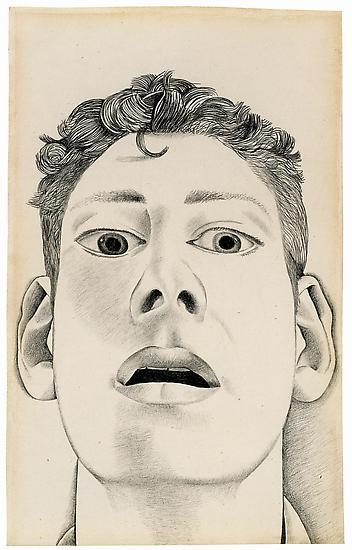 Drawn portrait lucian freud Pencil on