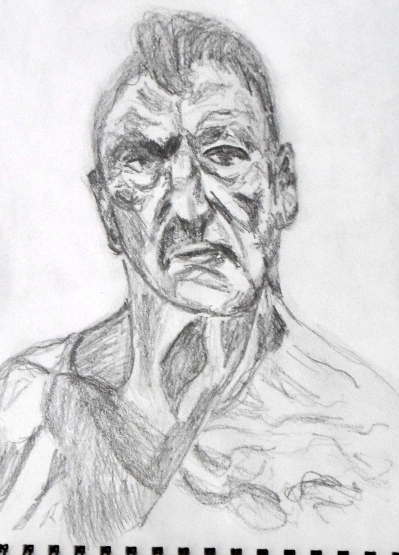 Drawn portrait lucian freud Studio Stories drawing his pencil