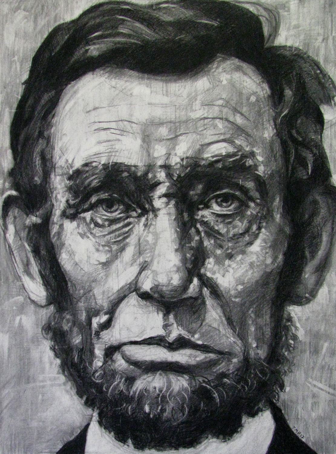 Drawn portrait made Drawing on Charcoal Abraham Drawing