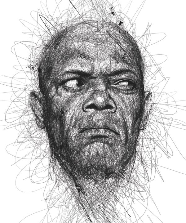 Drawn portrait made Best Scribbles Drawing by Pinterest