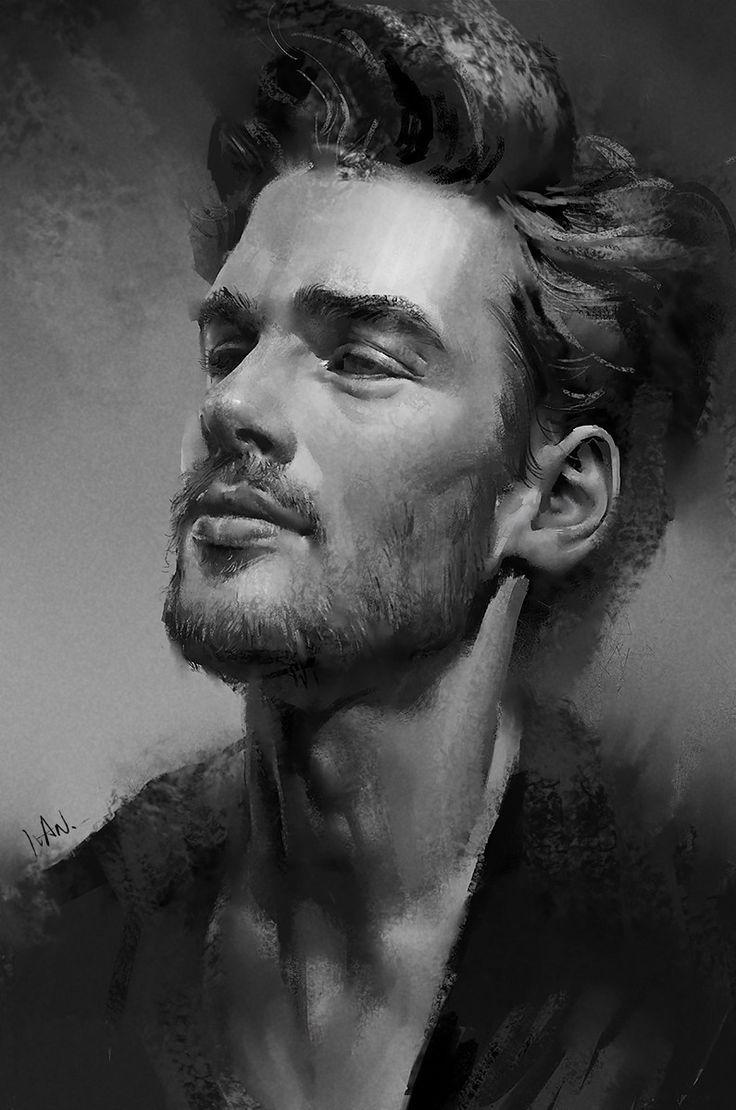 Drawn portrait male face Best art face face