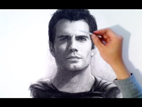 Drawn portrait man's face Cavill) Time Man Charcoal