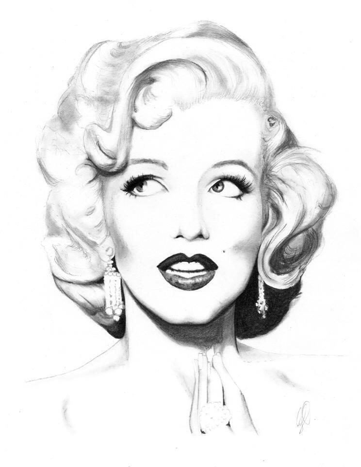 Drawn portrait marilyn monroe  Monroe Drawing Art ❤Marilyn