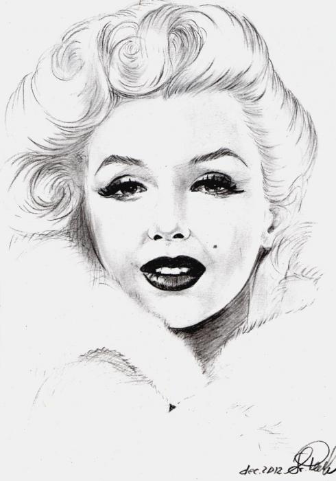 Drawn portrait marilyn monroe 108 of Monroe svetliaciok Marilyn