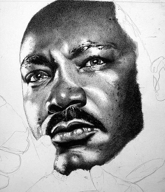 Drawn portrait martin luther king Luther Luther King4 eyes by