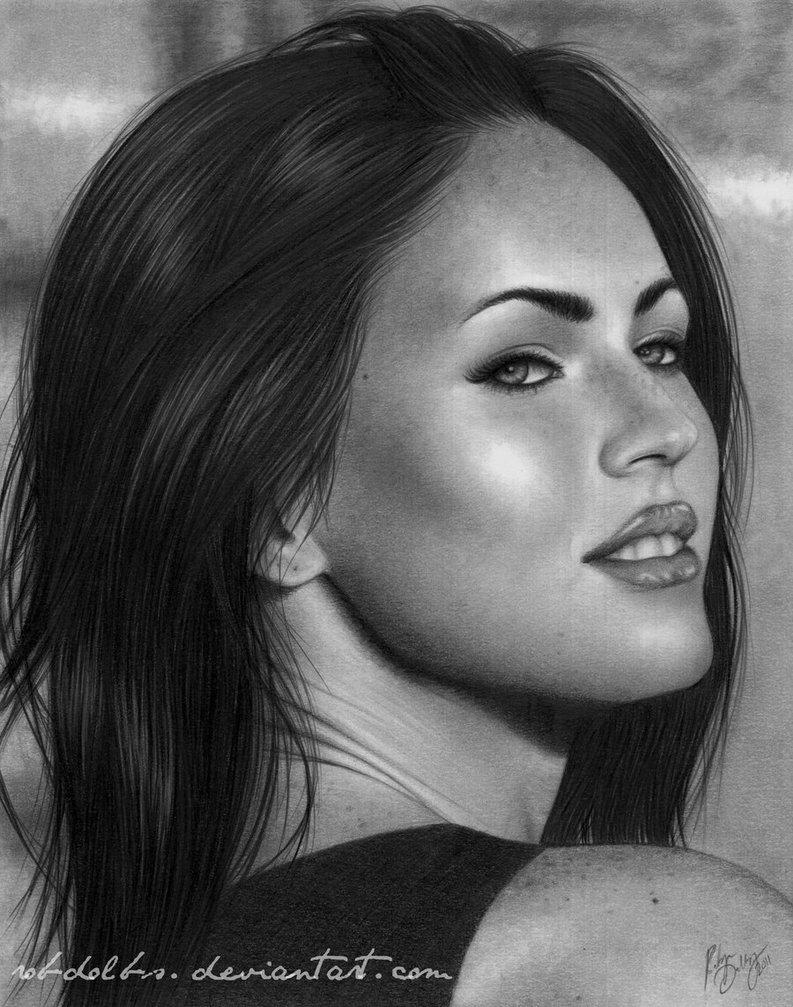 Drawn portrait megan fox By by DeviantArt Megan Megan