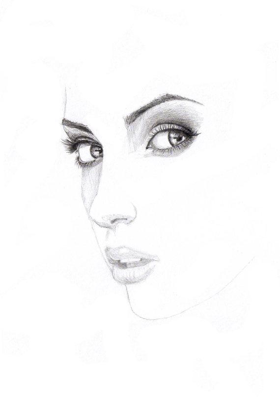 Drawn portrait minimalistic Minimalist Portrait Drawing Graphite Photo