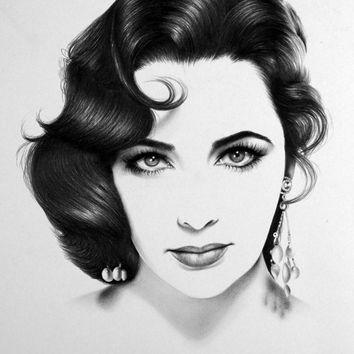 Drawn portrait minimalistic Minimalism Pencil Portrait Signed Art