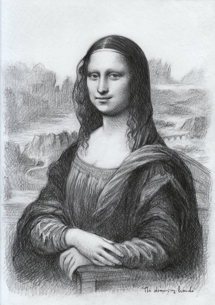 Drawn portrait mona lisa Black 360 white Exercises works