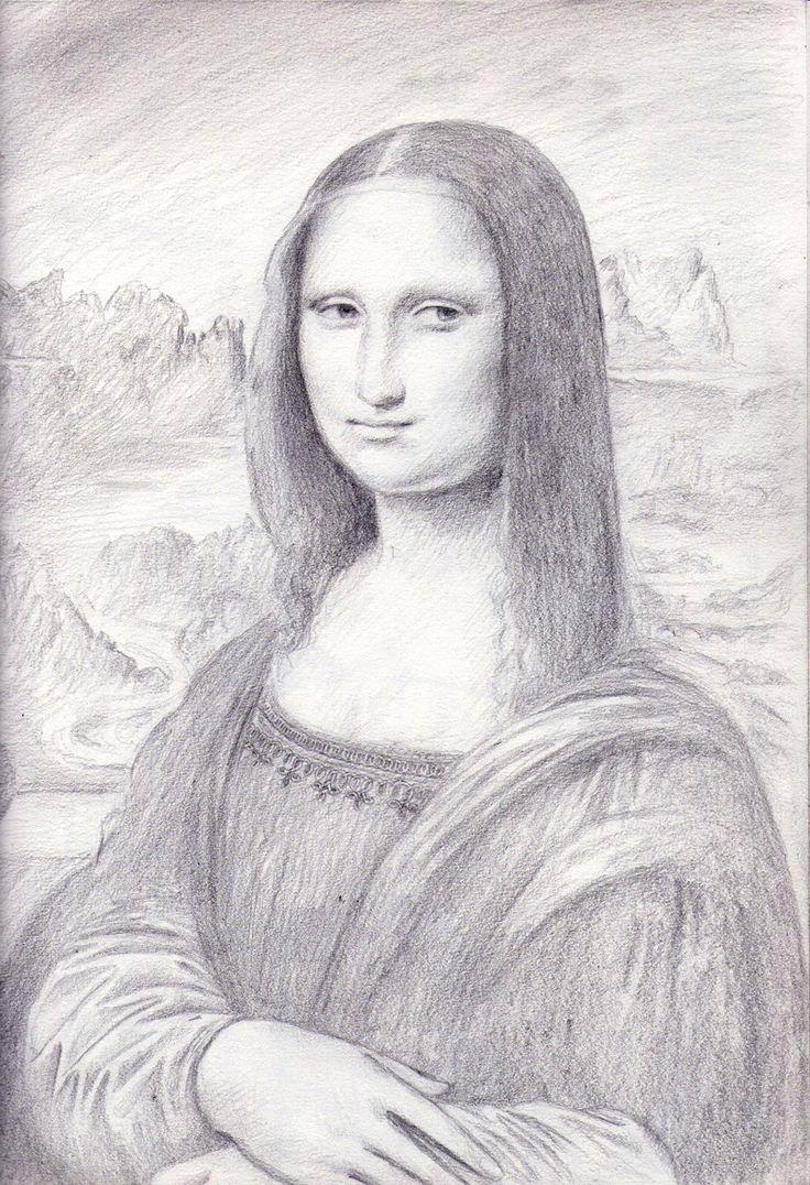 Drawn portrait mona lisa Pin Art & White more