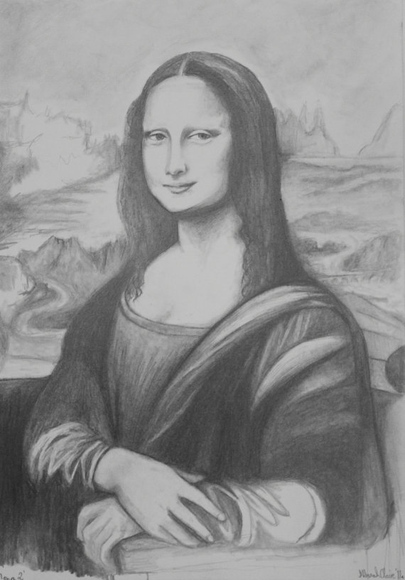 Drawn portrait mona lisa Pencil by pencil Original Lisa