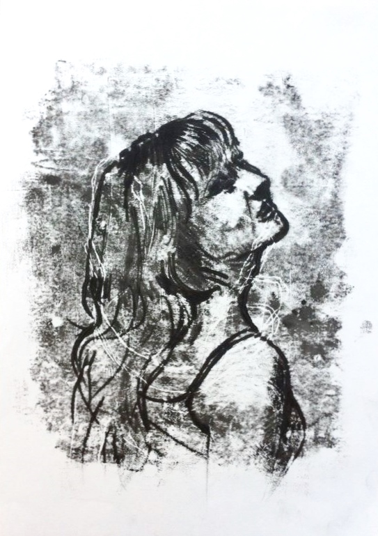 Drawn portrait monoprint HollyDaizyBroughton Monoprint DeviantArt HollyDaizyBroughton by