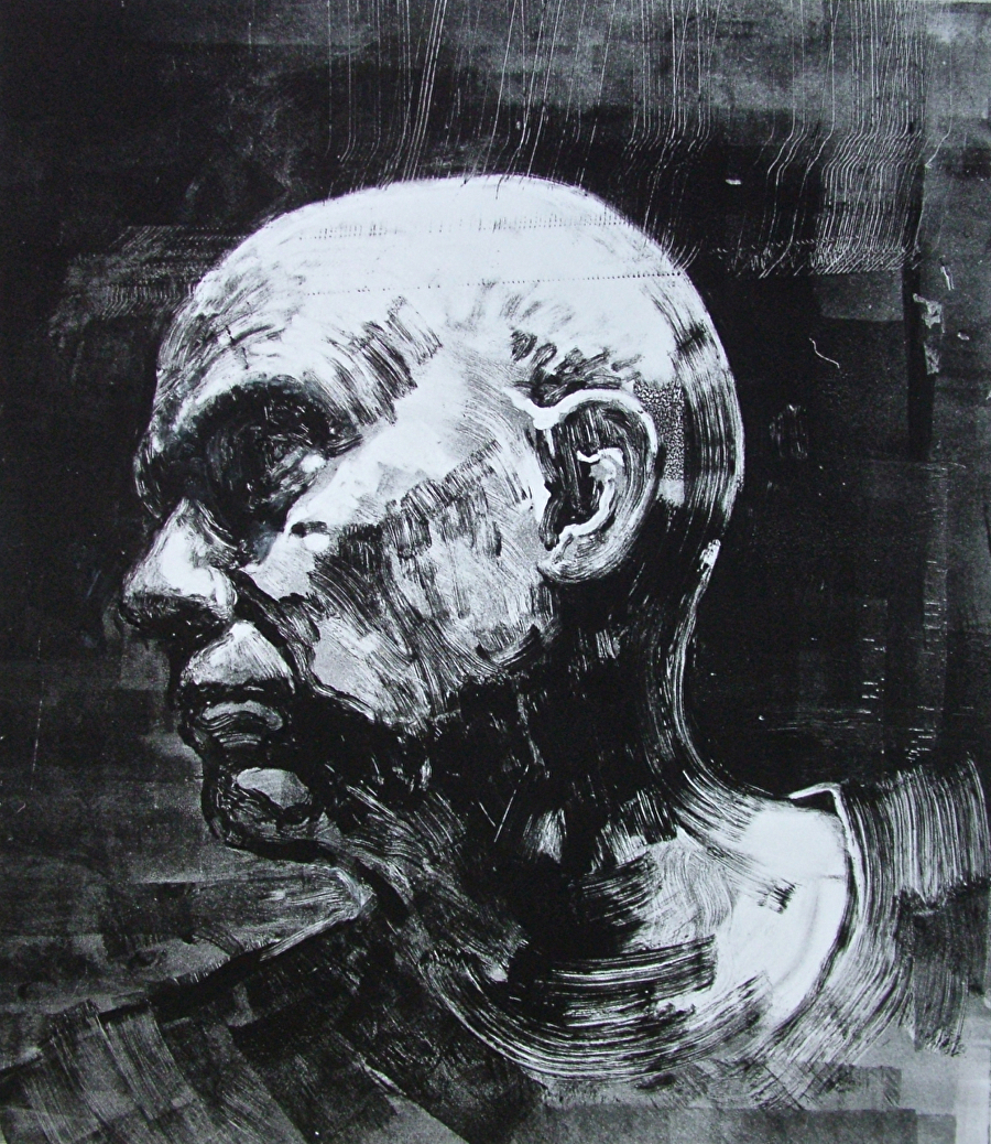 Drawn portrait monoprint Monoprint Bill portrait right Zoom: