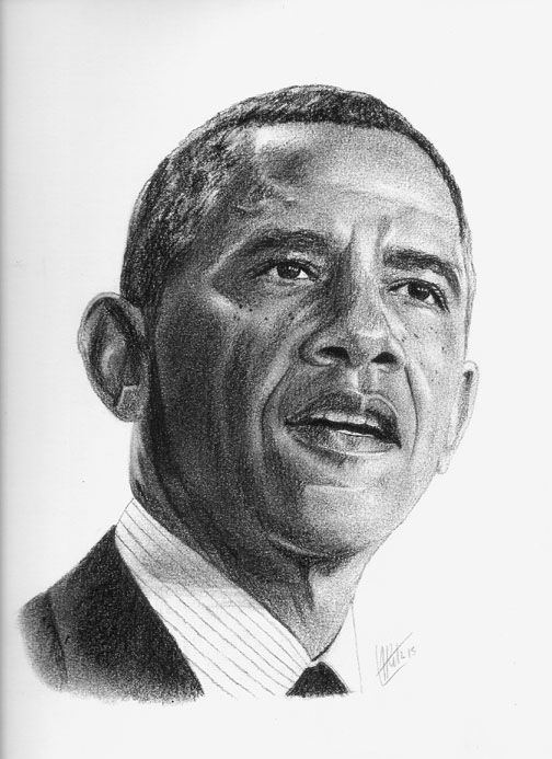 Drawn portrait obama Charcoal Pencil of Barack charcoal