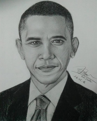 Drawn portrait obama Hinh vietnamese of Obama young