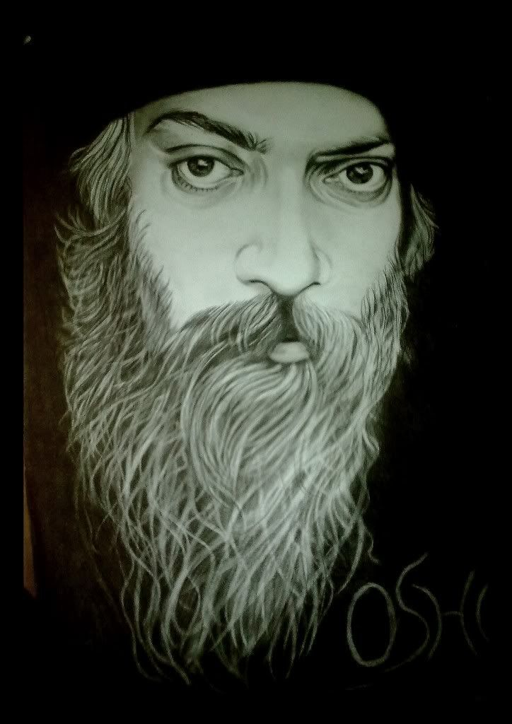 Drawn portrait osho Was painting charcoal of painting