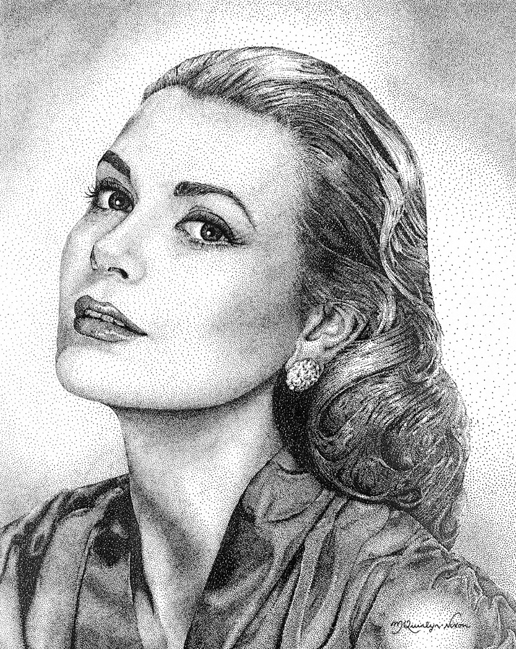 Drawn portrait pointillism Because the hand by picture
