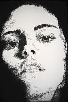 Drawn portrait pointillism  did I Pointillism Deathly