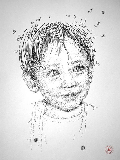 Drawn portrait pointillism Thousands From Artworks Jurado Made