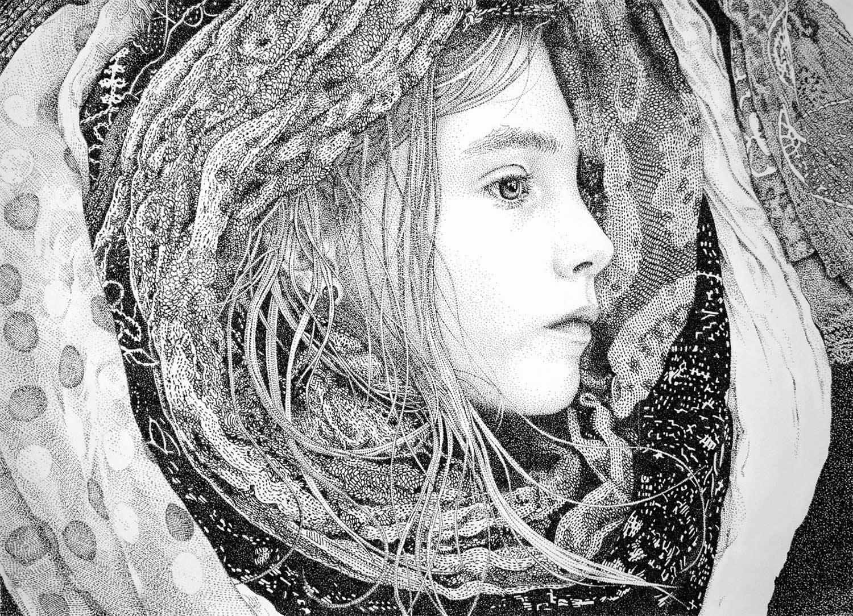 Drawn portrait pointillism Inspiring 5 ruiz girl pointillism