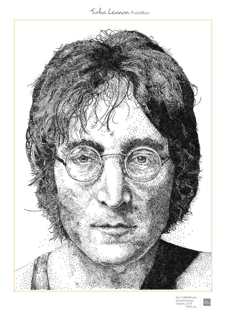 Drawn portrait pointillism Images known also pointillism