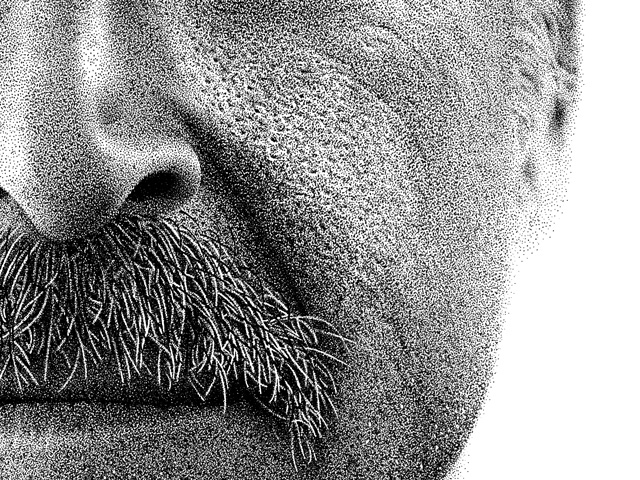Drawn portrait pointillism Kyle Benjaman stippling pointillism drawings