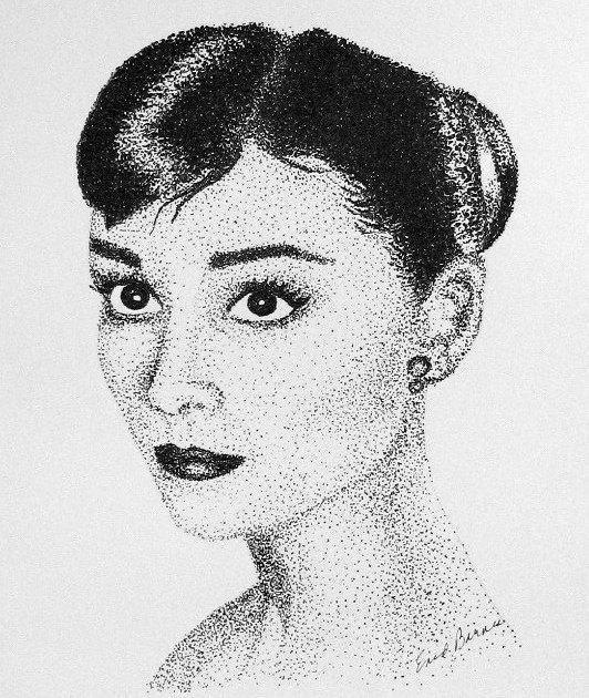 Drawn portrait pointillism Pointillism Drawing Hepburn  Audrey