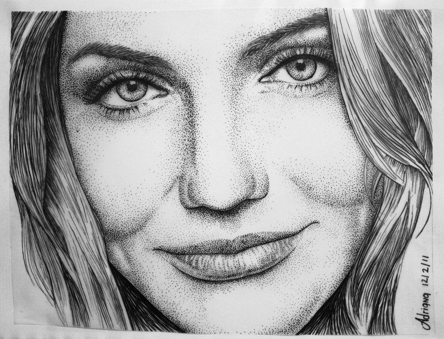 Drawn portrait pointillism By pointillism Diaz by in