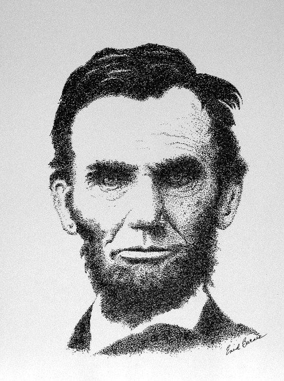 Drawn portrait pointillism Original Lincoln President Pointillism Abraham