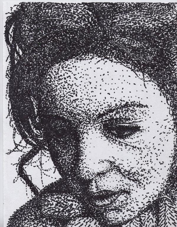 Drawn portrait pointillism On Maethori ink:pointillism Maethori by