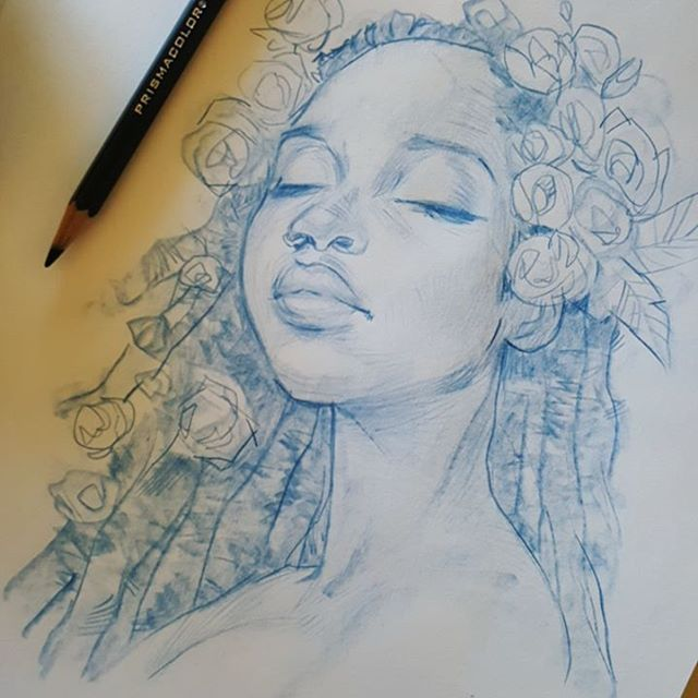 Drawn portrait portait Best #portait #dreadlocks melmadedooks WEBSTA