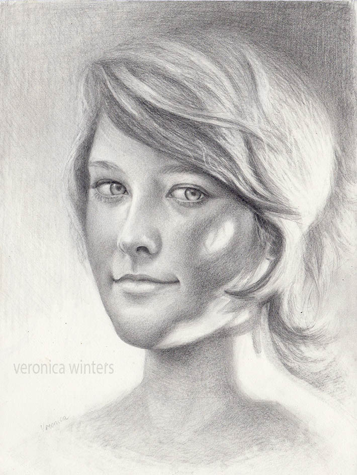 Drawn portrait progressive Graphite face a Portrait: a