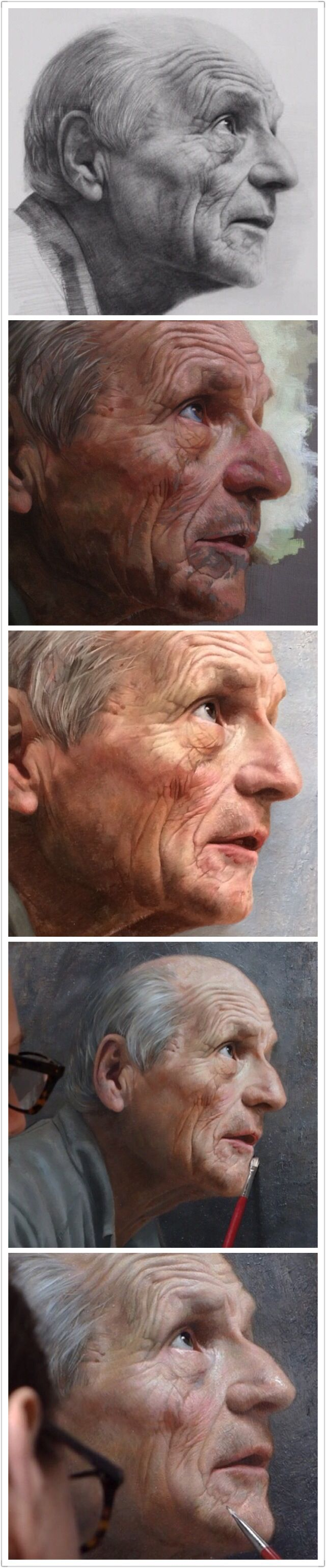 Drawn portrait progressive Male elderly face progressive profile