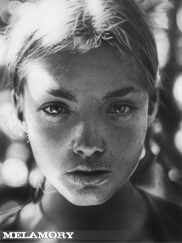 Drawn portrait realistic Oddity Olga Larionova Hyperrealistic Olga