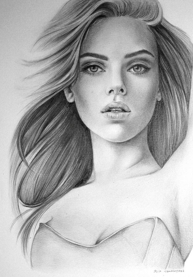 Drawn portrait scarlett johansson Saraly on DeviantArt Scarlett saraly