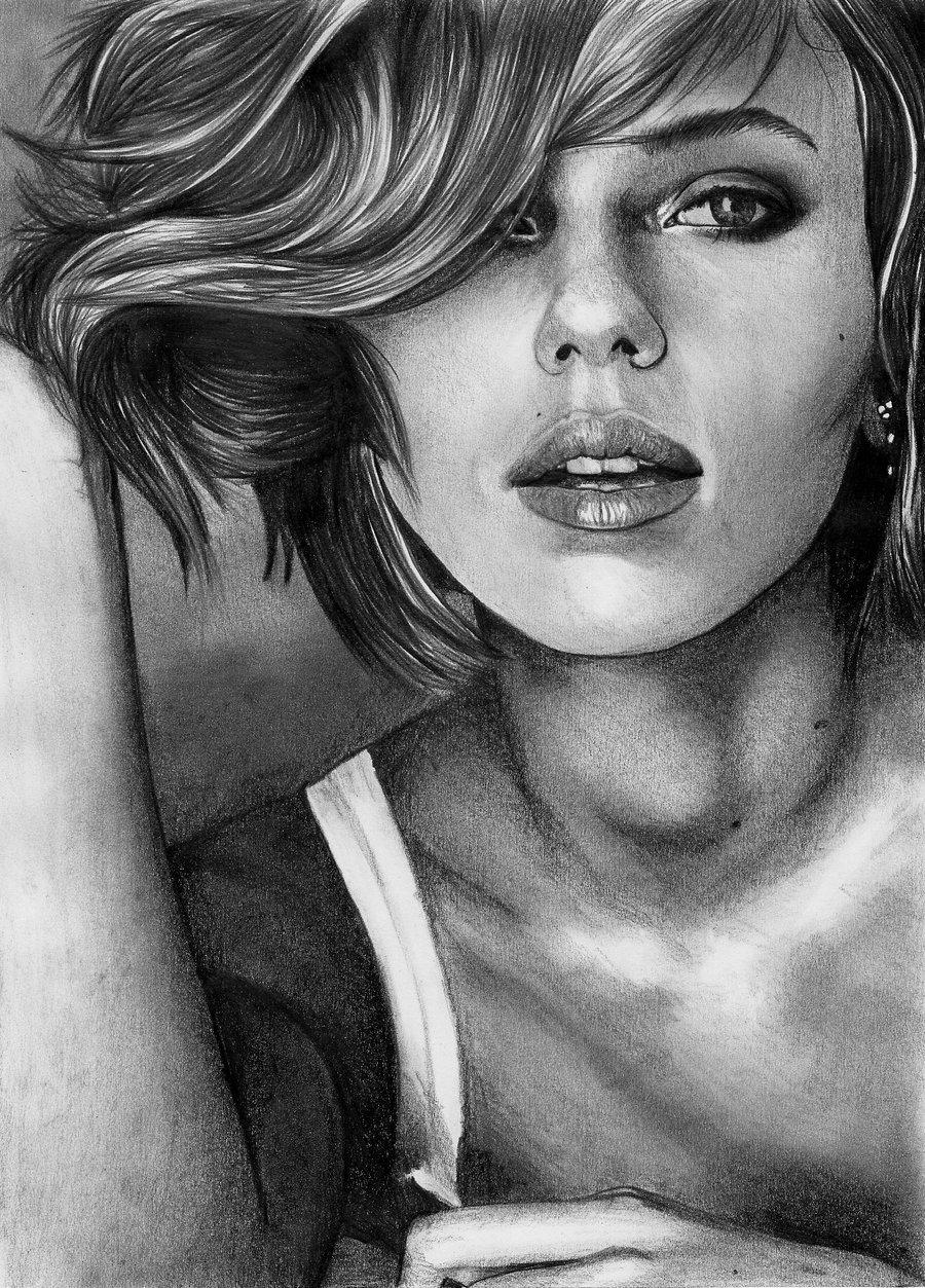 Drawn portrait scarlett johansson Angiebelikejolie on DeviantArt Scarlett angiebelikejolie