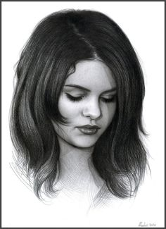 Drawn portrait selena gomez Art (8 2011 paper 3x11