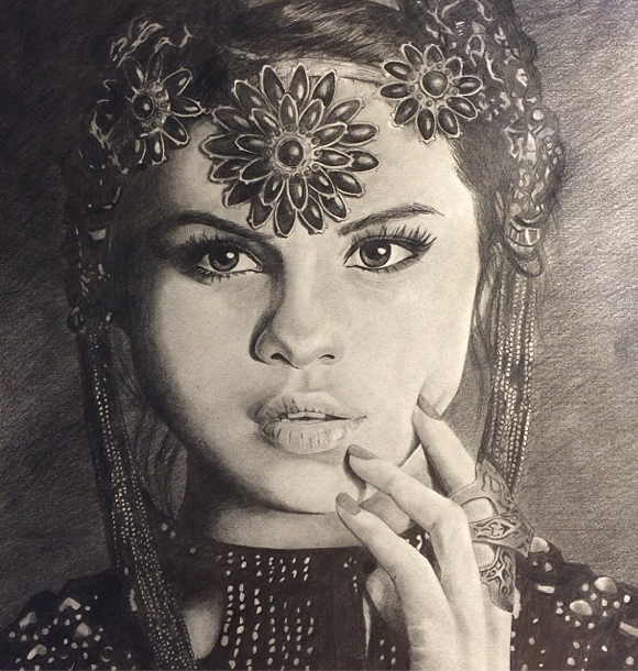 Drawn portrait selena gomez DeviantArt Kirstie0109 on Drawing by