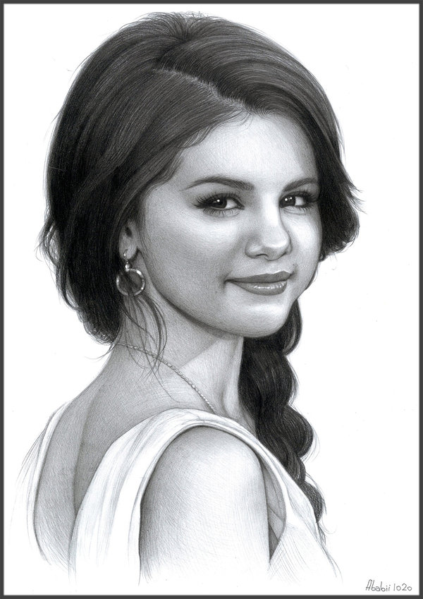 Drawn portrait selena gomez Amberstar1234 draw a wanna a
