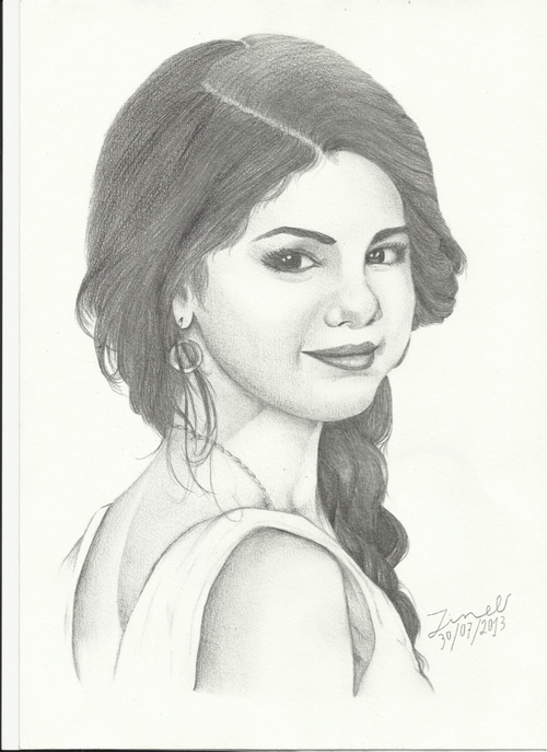 Drawn portrait selena gomez Green image by Heart and